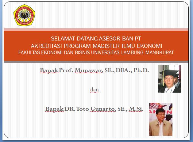 Kunjungan Tim Asesor BAN-PT untuk Akreditasi Prodi S2 Magister Ilmu Ekonomi