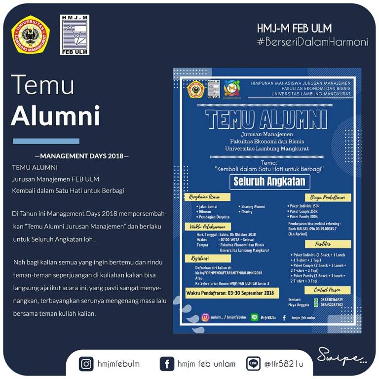 Sabtu, 6 Oktober 2018 : Temu Alumni Jurusan Manajemen oleh HMJM FEB ULM