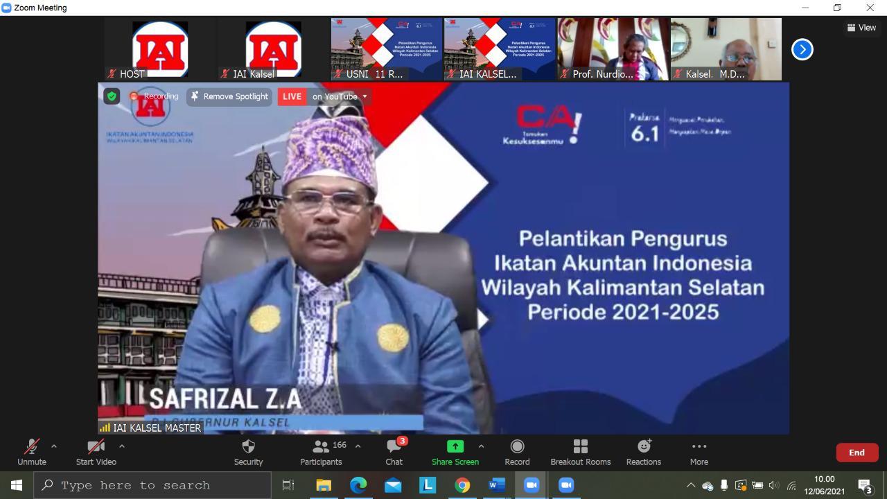 Pelantikan Ketua IAI Wilayah Kalsel Periode 2021-2025, Dekan FEB ULM Terpilih